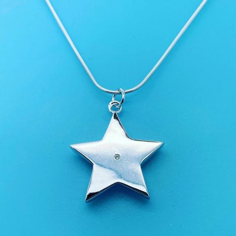 Genuine 925 Sterling Large Star Pendant W/ Real Diamond & Snake Chain